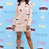 At the 2013 Teen Choice Awards, Kerry showed off her playful side in a printed and embellished Stella McCartney mini-dress and studded pumps.