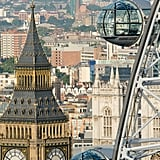 Explorer Amelia Hempleman-Adams held the Olympic torch on the London Eye in central London.