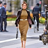 J Lo Filmed a Scene in Taupe Pumps