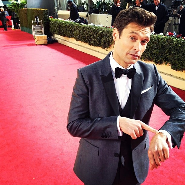 Ryan Seacrest was right on time for the beginning of the Globes. Source: Instagram user ryanseacrest