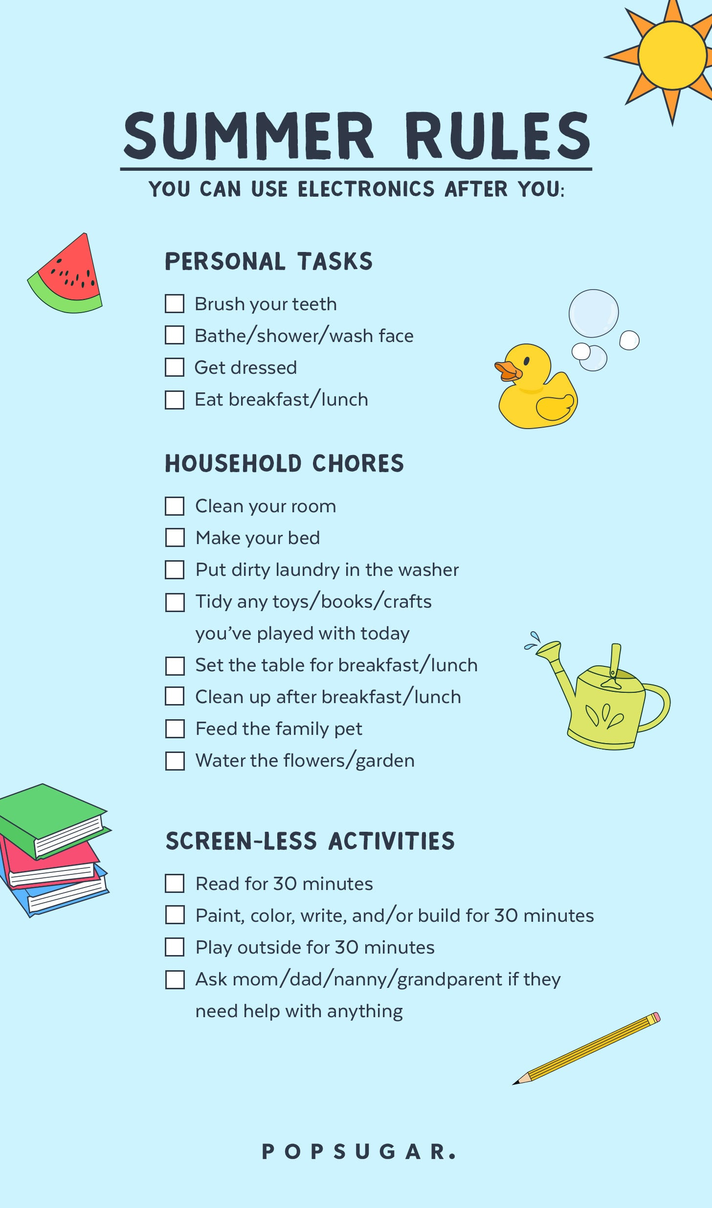 Ultimate parenting cheat sheet summer
