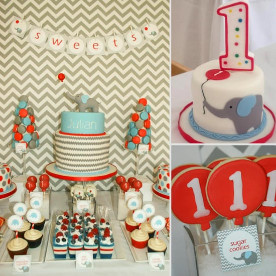 A Modern Chevron Elephant and Balloon First Birthday Party