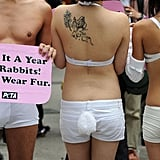 A guy joins the skinless cause in Hong Kong as protesters bring in the year of the rabbit this past January.