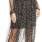 La Maison Talulah Glitter-Embellished Cold-Shoulder Dress