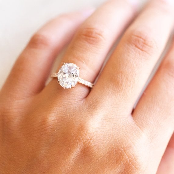 Etsy 14k Rose Gold Diamond Engagement Ring Katherine