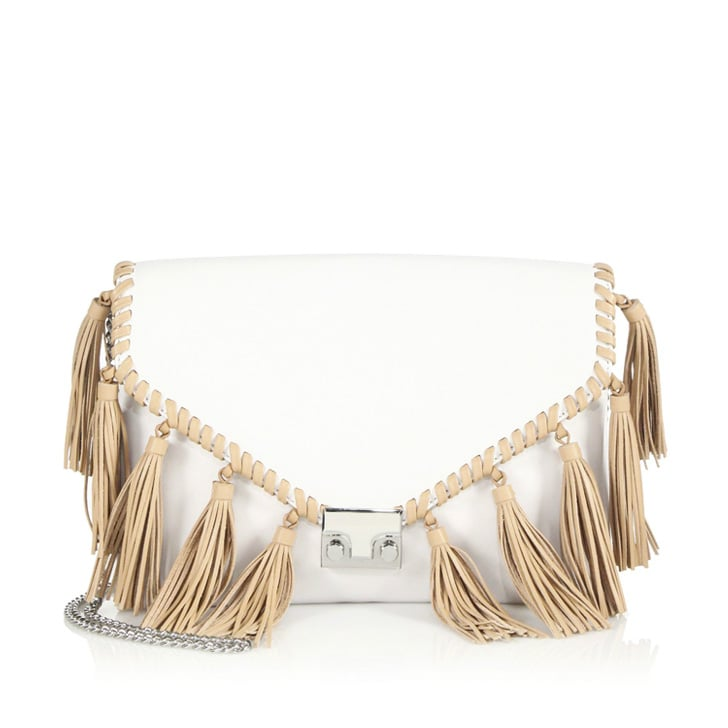 Loeffler Randall Two-Tone Tasseled Leather Clutch ($395)