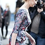 Katherine Heigl made her way into Lincoln Center in a sweet, floral-print sheath.