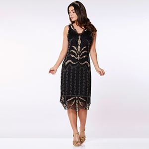 Elsa Black Gold Hand Embellished Midi Dress