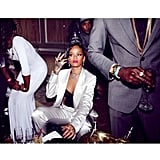 Only Rihanna could pull off a white satin suit like this. Source: Instagram user badgirlriri