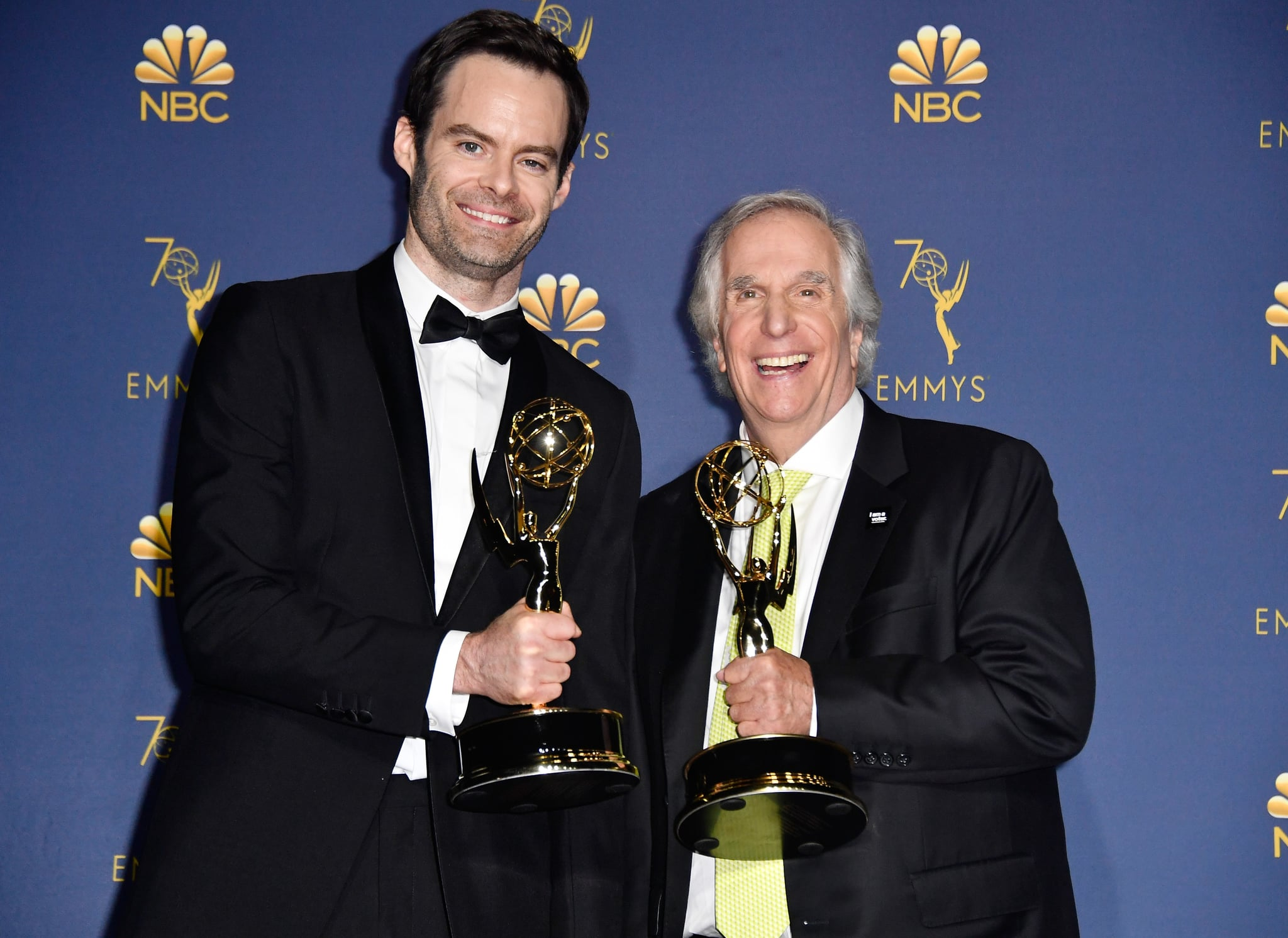 LOS ANGELES, CA - SEPTEMBER 17:  Outstanding Lead Actor in a Comedy Series Bill Hader (L) and Outstanding Supporting Actor in a Comedy Series Henry Winkler, pose in the press room during the 70th Emmy Awards at Microsoft Theater on September 17, 2018 in Los Angeles, California.  (Photo by Frazer Harrison/Getty Images)