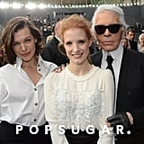 Milla Jovovich, Jessica Chastain, and Karl Lagerfeld joined up at the Chanel fashion show.