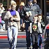 Britney Spears carried her pup, Hannah, to Starbucks with her sons.