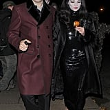 Kate Moss and Jamie Hince stepped out together, in costumes of course, for a soiree in London on Wednesday night.