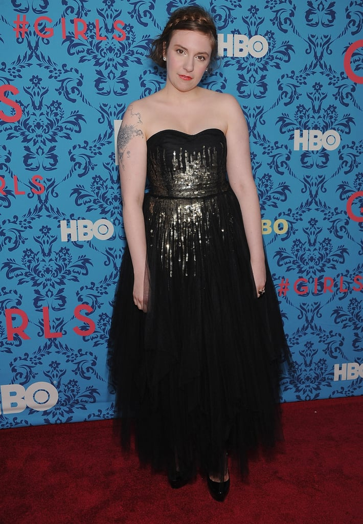 Lena Dunham wore a shiny black dress to the premiere of HBO's Girls in NYC.