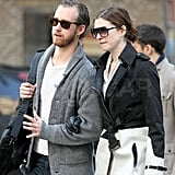 Anne Hathaway and Adam Shulman sported shades for a stroll.
