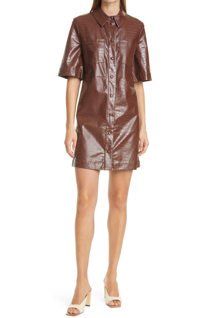 For a Leather Statement: Samsoe Samsoe Myla Faux Leather Short Sleeve Shirtdress