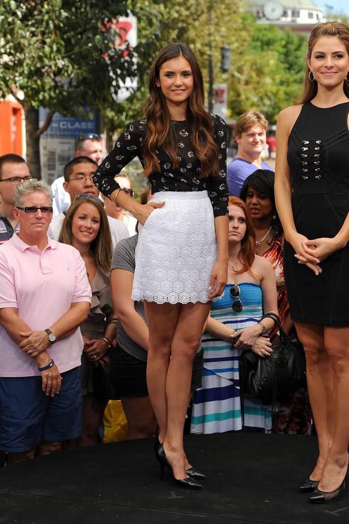 Nina showed off her pins in this pretty Dolce & Gabbana set for an appearance on Extra in September 2012.