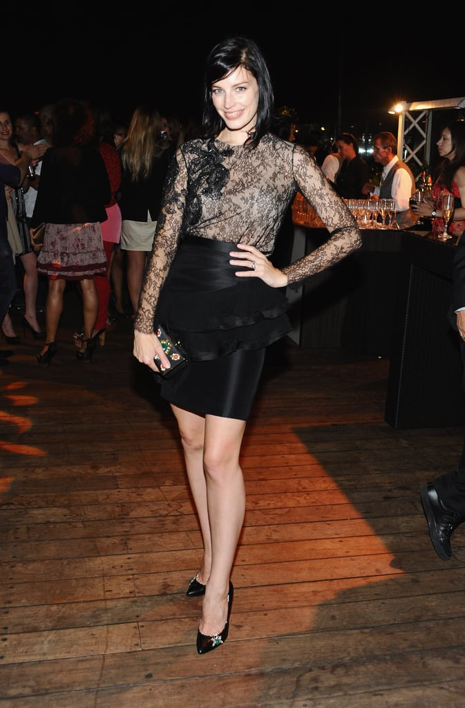 Jessica Paré went dark and pretty for the bash.