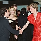 Princess Diana shook hands with Billy Crystal and Meg Ryan at the London premiere of When Harry Met Sally in 1989.