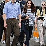Ready to set sail, Kate removed her blazer to reveal a Me + Em Breton top (£48). She switched out her wedges for a pair of flat deck shoes.