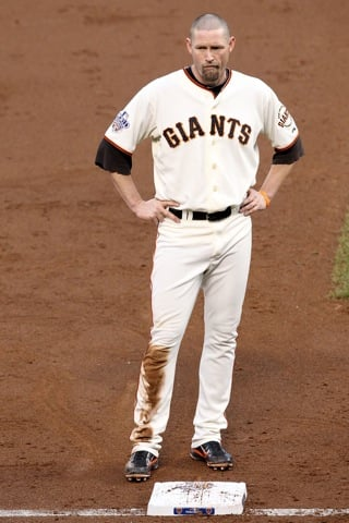 San Francisco Giant Aubrey Huff Wears Wife's Red Thong
