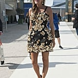 Anna Dello Russo did floral power the most glamorous way possible, with gilded appliqués and coordinating embellished heels.