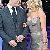 Pictured: Colin Jost and Scarlett Johansson