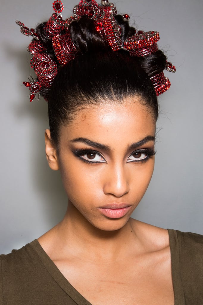 We've come to expect excitement from the Jean Paul Gaultier runway, and this style with beaded rollers was no disappointment.