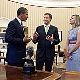 Will Ferrell and his wife, Viveca, laughed with President Obama in the Oval Office in Oct. 2011. Source: Flickr user The White House