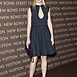 Gwyneth showed her support for Louis Vuitton wearing a tweed key-hole confection with intricately detailed sandals and a purple sequined clutch, all by Louis Vuitton, at the designer's Bond Street Maison launch in London.