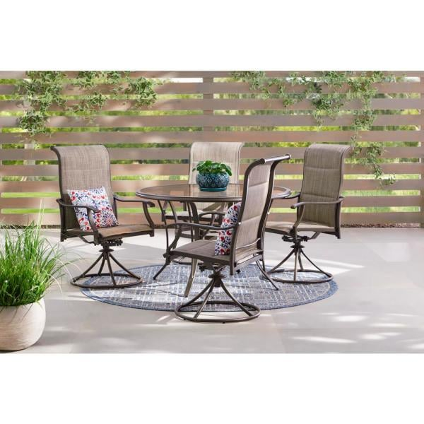 Hampton Bay Riverbrook Espresso Brown 5-Piece Steel Outdoor Patio Set