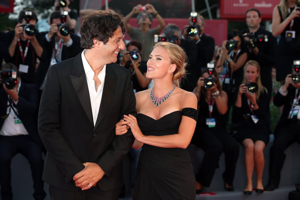 Scarlett Johansson shared a smile with her director Jonathan Glazer.