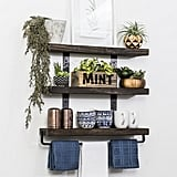 Industrial 3-Tier Floating Shelf With Towel Bar
