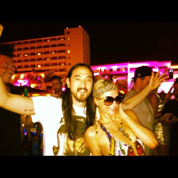 Paris Hilton partied in Ibiza with Steve Aoki. Source: Instagram user nickyhilton