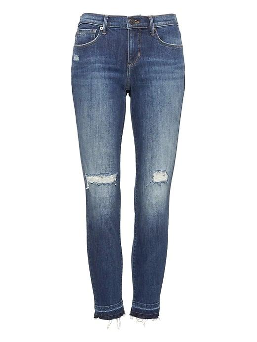 Skinny Medium Wash Jean with Fray Hem