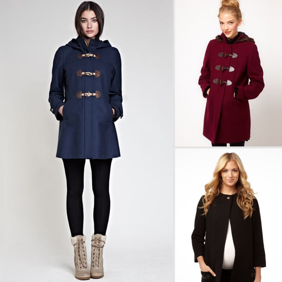 A Walmart maternity coat is always going to be among the most affordable of your cheap maternity coat options, and this is a bargain that's hard to pass up. We love the cute Peter Pan collar and the always-classic black color.