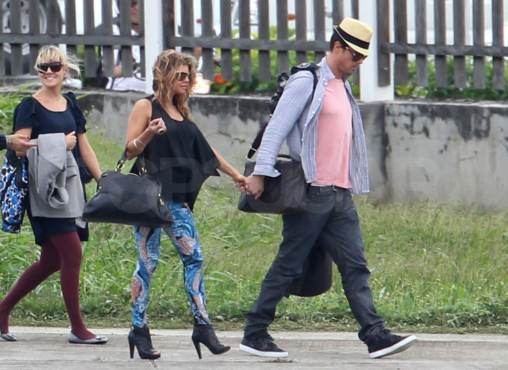 Pictures of Fergie and Josh Duhamel Landing in Windy St. Barts