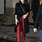 Bella Hadid followed suit in Paris, her own leather skinnies not quite as noticeable but definitely flashy enough.