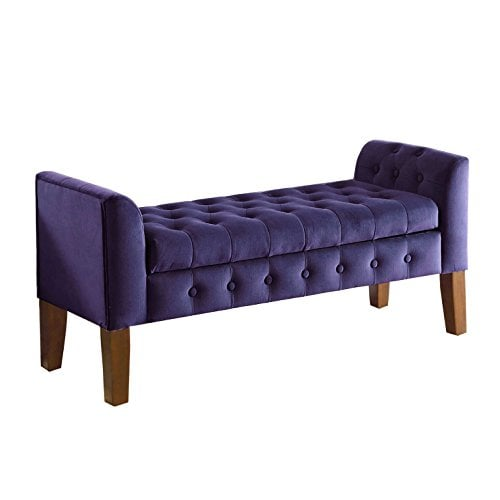 Velvet Tufted Storage Bench Settee With Hinged Lid