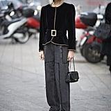 A medium to wide belt creates a cute peplum effect over a shorter blazer.