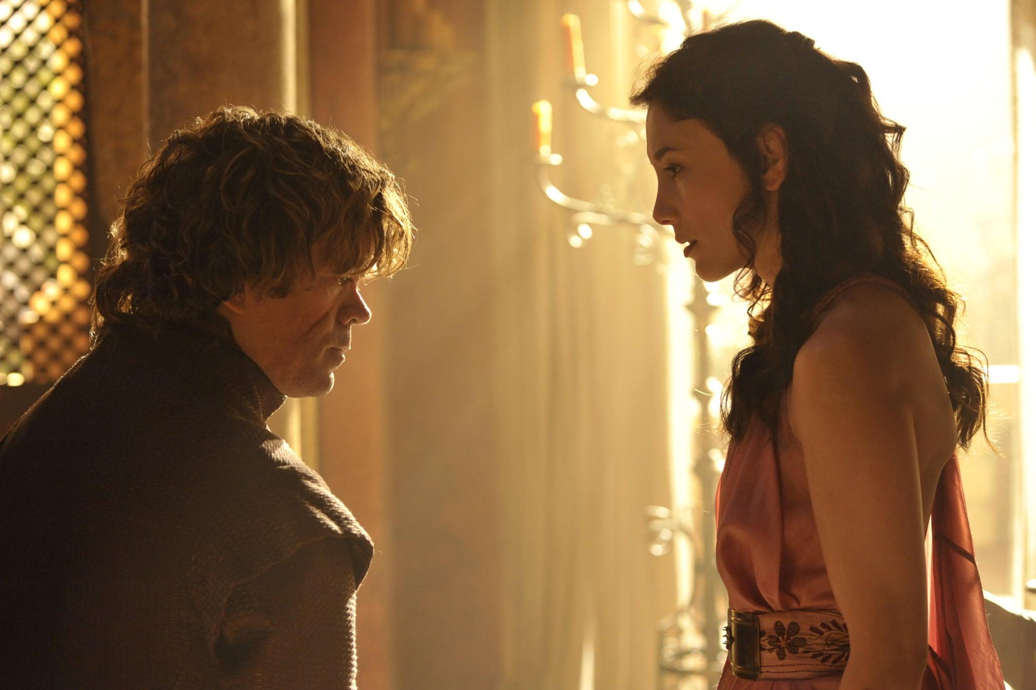 Peter Dinklage as Tyrion Lannister and Sibel Kekilli as Shae.