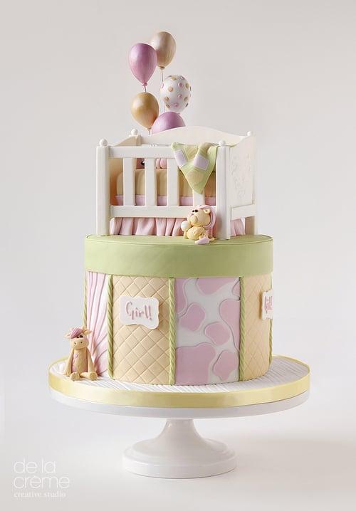 Little Crib Gender Reveal Cake Pretty Baby Shower Cake