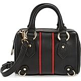 Topshop Stripe Faux Leather Mini Bowler Bag