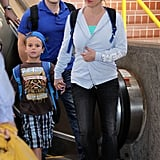 Britney Spears held her son Sean Preston Federline's hand through the Maui airport.