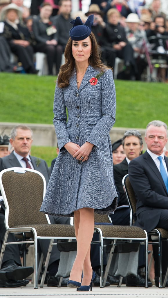Kate Middleton wearing a Michael Kors coat at the Australian War Memorial in 2014.