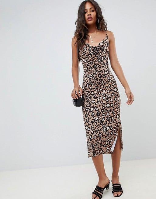 efff48f09023 ASOS Tall Cowl Front Midi Slip Dress | Leopard Print Dress Trend ...