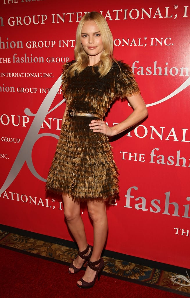 The blonde stunner wowed in a feathered Burberry Prorsum dress, ankle-wrap peep-toes, and loose curls at the Fashion Group International's 25th annual Night of Stars in 2008.