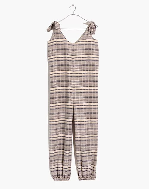 Madewell Tie-Strap Balloon Cover-Up Jumpsuit in Stripe