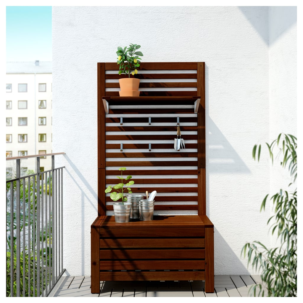 The answer to wall gardens for renters, this apparatus is a bench and storage box, and it allows you to keep plants vertically, leaving more floor space. ÄPPLARÖ Bench Wall Panel and Shelf ($159)