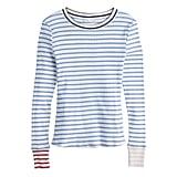 Contrast Stripe Long Sleeve in Silverlake Blue